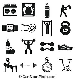 Gym icons set, simple style