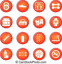 Gym icons vector set