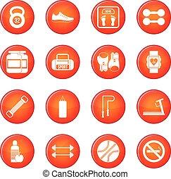 Gym icons vector set