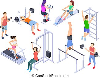 Gym isometric. Fitness people training, physical workout exercise. Young human coach, sports equipment 3d vector characters isolated
