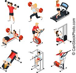 Gym Isometric Set - Gym and people isometric set with...