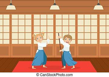 gym, jongens, aziaat, kimono, opleiding, atleten, kunst, schattig, kinderen, spotprent, illustratie, beoefenen, vechters, vector, aikido, krijgshaftig, techniek, vervelend, geitjes