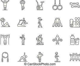 Gym line icons, signs, vector set, outline illustration concept