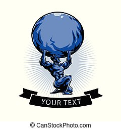 Gym Logo Template. Atlas Titan Holding Globe. Vector...