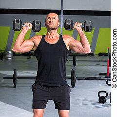 gym, man, met, dumbbells, oefening, kruis, passen