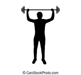 gym, man, silhouette, gewicht, hand