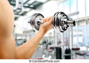 gym., mann, mit, hantel, hand