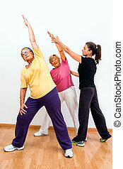 Gym monitor helping senior ladies with exercise.
