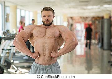 gym., muskularny, człowiek