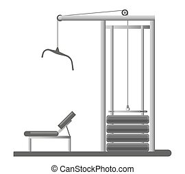 Gym or fitness sport club equipment trainer machine weight bench vector icon