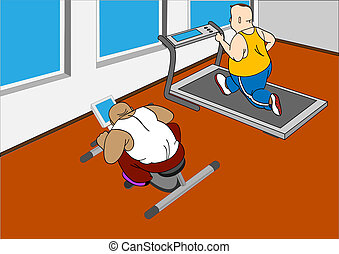 GYM - Overweight mans running on a treadmill and  on  bike