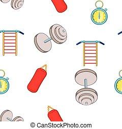Gym pattern, cartoon style