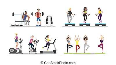 Gym people set.
