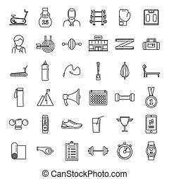 Gym personal trainer icons set, outline style