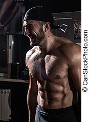 gym, pet, torso, gespierd, man