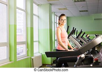 gym, rennende , meisje, tredmolen