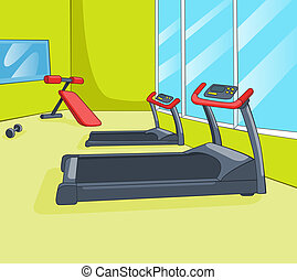 Gym Room with Trainers. Vector Cartoon Background. EPS 10.