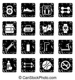 Gym set icons, grunge style