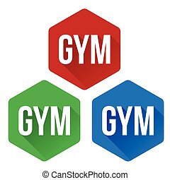 Gym sign button set