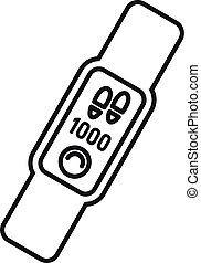 Gym smartwatch icon, outline style