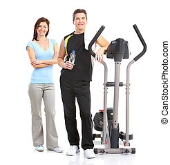 Gym - Smiling mature strong man and woman. Isolated over...