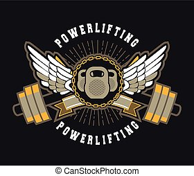 gym sport sign - vector sport emblem for the gym kettlebell...
