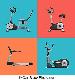 Gym sports equipment icons set.