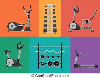 Gym sports equipment icons set.