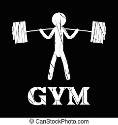 Gym Squat icon vector human grunge symbol flat