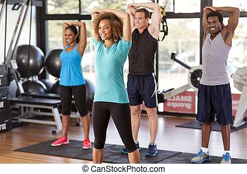 gym, stretching, groep, multi-etnisch
