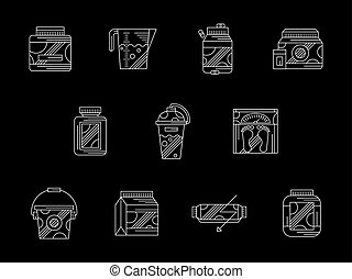 Gym supplements flat white line vector icons