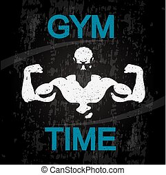 Gym time banner vector
