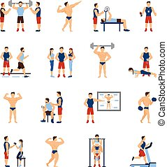 Gym Trainer Set - Gym coach and personal trainer flat icons...