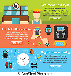 Gym training banner horizontal set, flat style