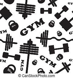 gym., vecteur, pattern., seamless
