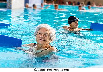 gym, vrouw, blauwgroen, senior, session.