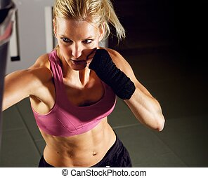 gym, vrouw, boxing