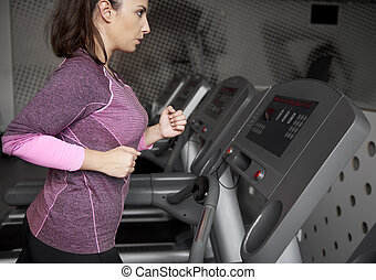 gym, vrouw, jonge, tredmolen, rennende