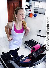 gym, vrouw, tredmolen