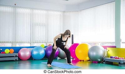 gym, vrouw, yoga