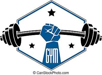 Gym weightlifting and fitness sport club logo, retro...