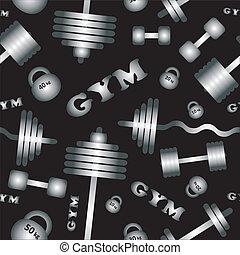 gym., wektor, pattern., seamless