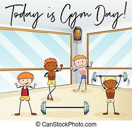 gym, werken, mensen, uit