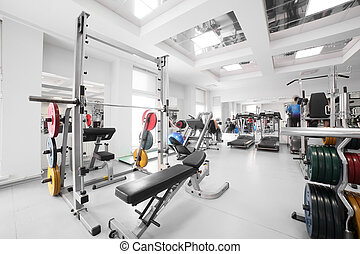 gym with special equipment, empty - interior of new modern ...