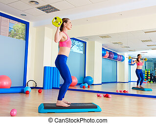 Gym woman barbell squats exercise workout