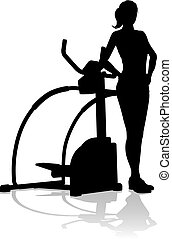 Gym Woman Silhouette Elliptical Cross Fit Machine - A woman...