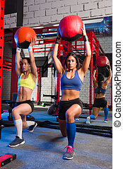 Gym women weighted ball workout exercise