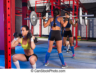 Gym women with barbell and hex dumbbell - Gym women with...