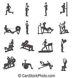 Gym Workout People Flat