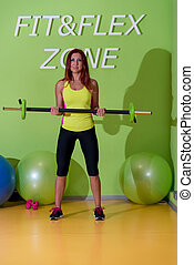 Gym Workout with Barbell Bent Over Row